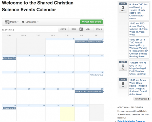 Christian Science Calendar